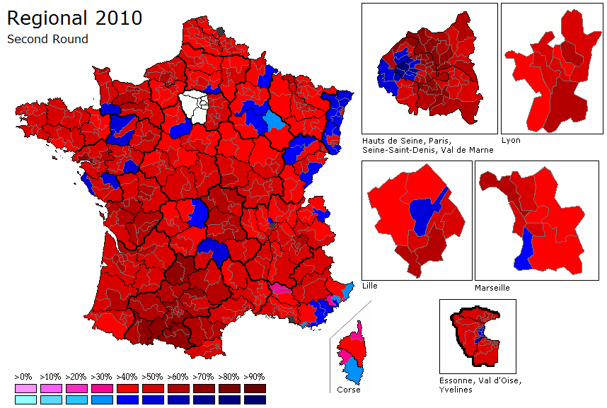 Map Of France Election Results.French Regionals 2010 Second Round World Elections