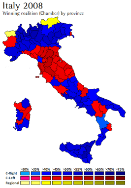 Results of the 2008 general election (Chamber of Deputies), winning coalition by province