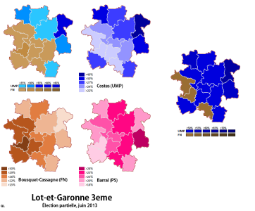 Results by canton of the first and second rounds of the by-election (own map)