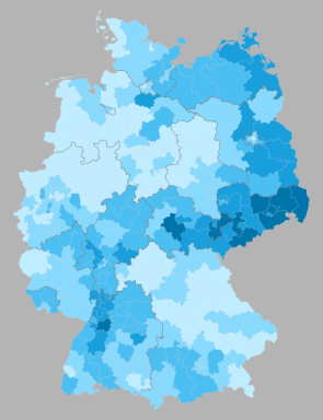 % second votes for the AfD by wahlkreise, shading in 1% increments from <4% to >7% (source: Wahlatlas 2013)