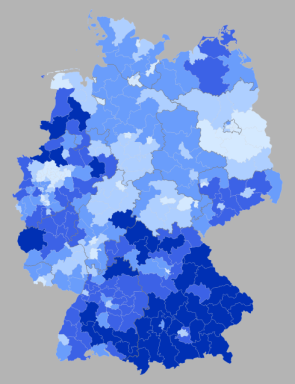 % second votes for the CDU/CSU by wahlkreise, shading in 5% increments from <35% to >50% (source: Wahlatlas 2013)