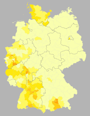 % second votes for the FDP by wahlkreise, shading in 1% increments from <5% to >8% (source: Wahlatlas 2013)