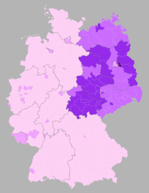 % second votes for Die Linke by wahlkreise, shading 28% (source: Wahlatlas 2013)