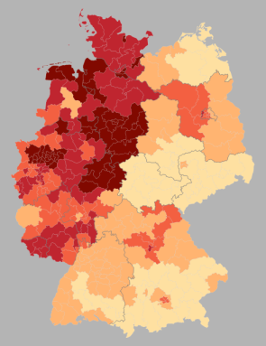 % second votes for the SPD by wahlkreise, shading in 5% increments from <18% to >33% (source: Wahlatlas 2013)
