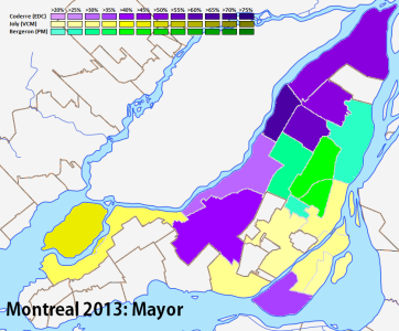 Results of the mayoral vote by borough