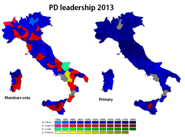 Results of the PD members vote and open primary (own map)