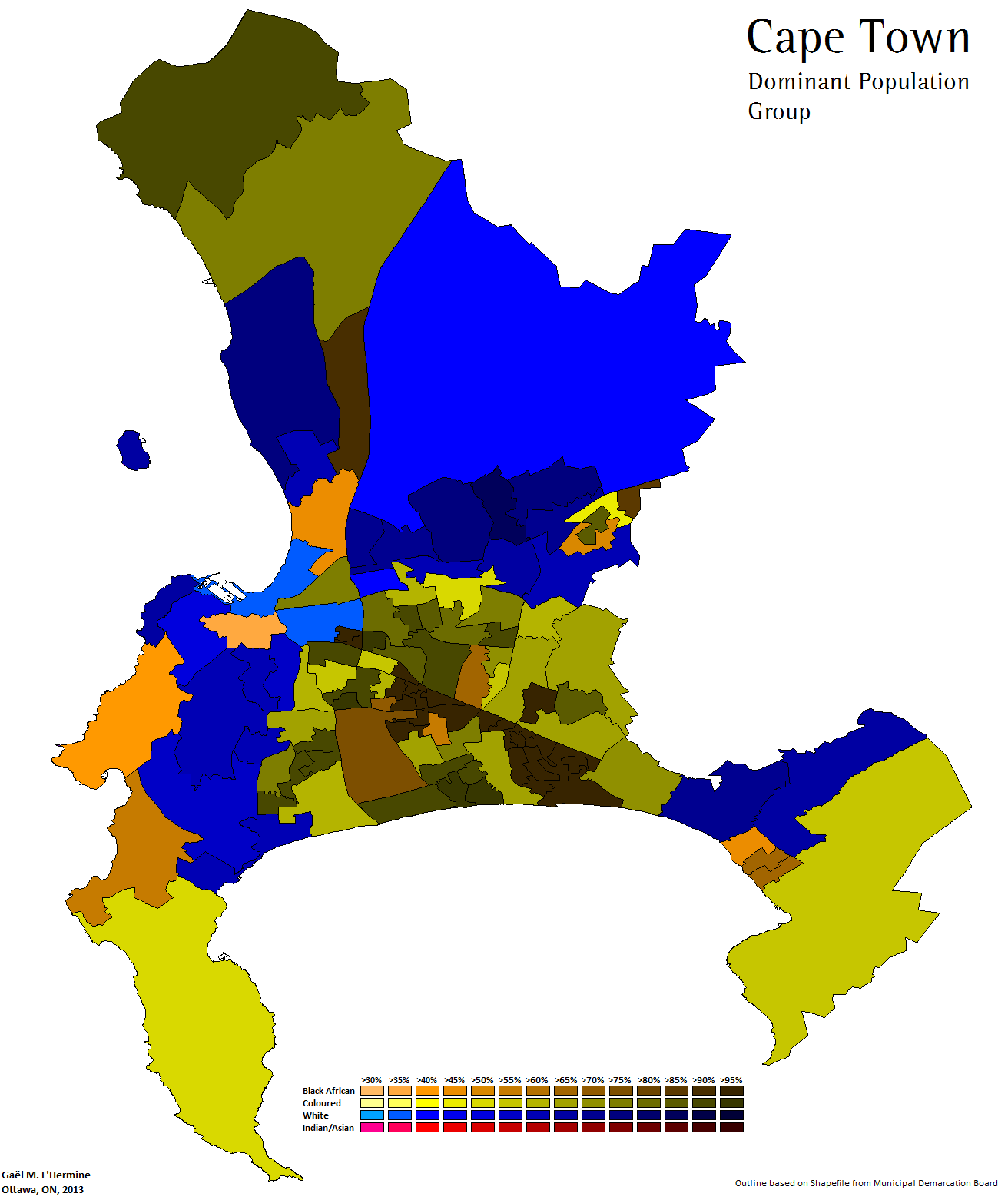Racial Plurality By Ward In Cape Town 2011 Census Own Map