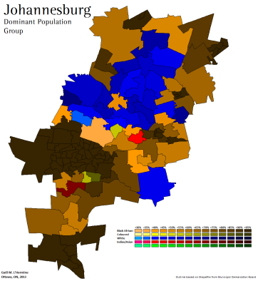 Racial plurality by ward in Johannesburg, 2011 Census (own map)