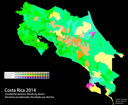 Results of the first round of the Costa Rican presidential election by district (own map)