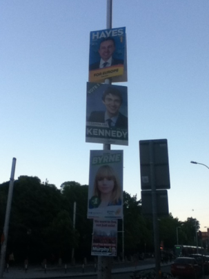 More Local and European posters – from top: Brian Hayes, the Fine Gael candidate for MEP for Dublin, Frank Kennedy, a FF local candidate in the Pembroke-South Dock ward in Dublin, Claire Byrne, a Green candidate in the same ward, and Paul Murphy, the sitting Socialist MEP for Dublin. All bar Murphy were elected.