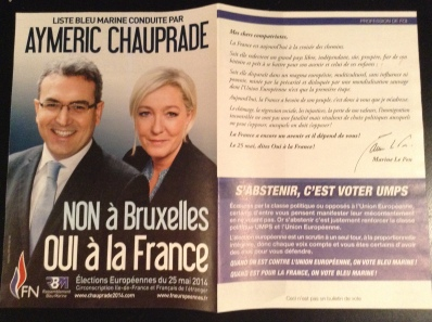 FN campaign literature, IdF constituency (own picture)