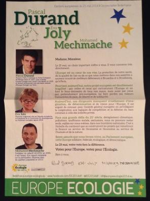 EELV campaign literature, IdF constituency (own picture)