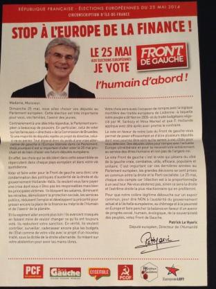 FG campaign literature, IdF constituency (own picture)