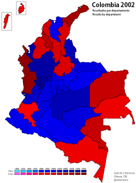 Results of the 2002 presidential election by department (own map)