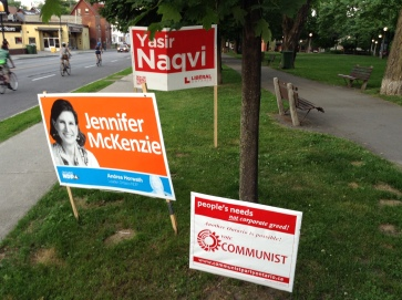 Liberal, NDP and... Communist signs in Ottawa Centre (own picture)