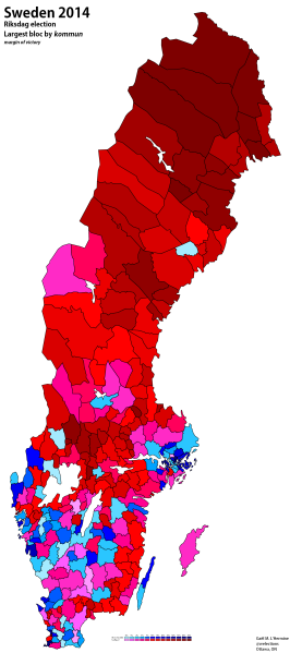 Largest bloc (M+C+Fp+KD vs. S+Mp+V) by kommun (own map)