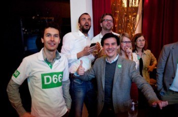 D66 activists celebrate on election night. Photo by Sebastiaan ter Burg, licensed under Creative Commons