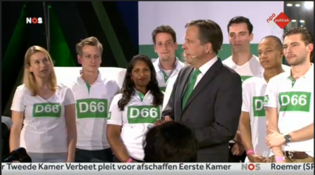The campaign team of D66 leader Pechtold made sure, American campaign-style, that the TV coverage of the party's election night rally would show him surrounded by a group of young and somewhat multicultural party members. Things were a little more awkward at the Labour Party rally.