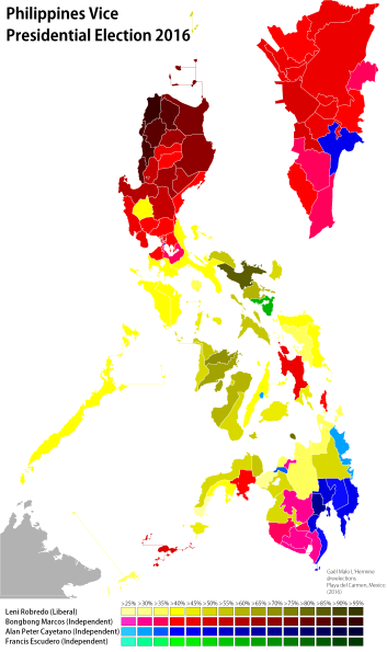 Results of the vice presidential election by province (own map)